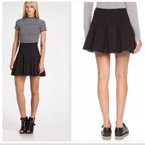 T by Alexander Wang Black Pleated Scuba Mini Skirt